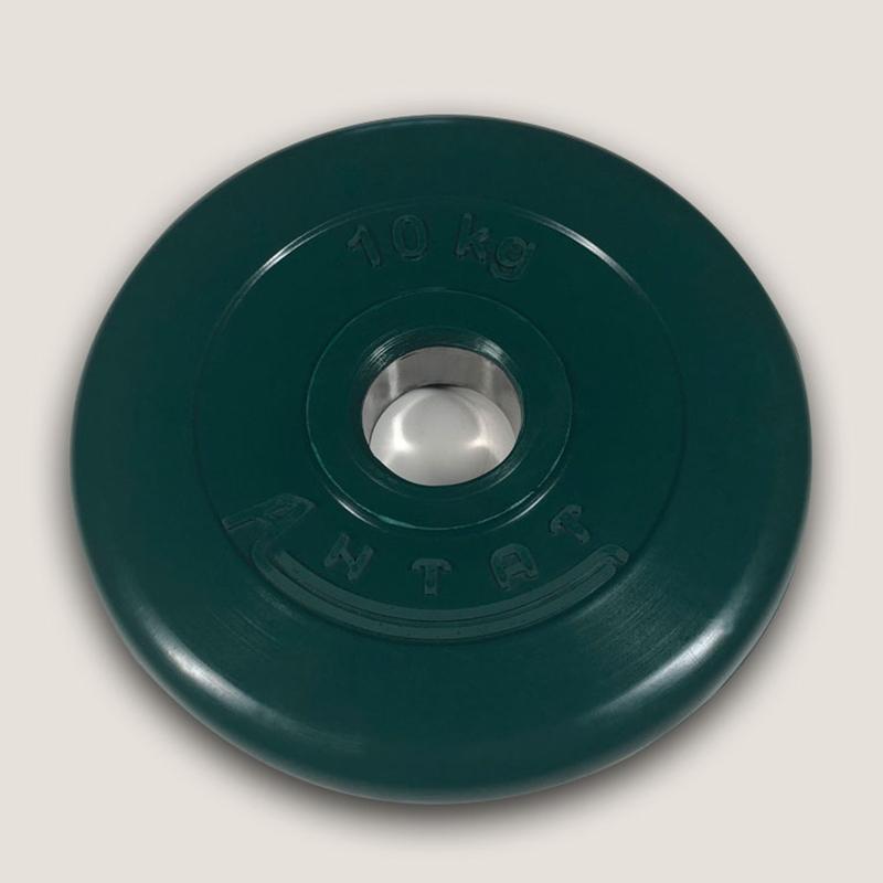 Диск обрезиненный цветной АТЛАНТ 10 кг диаметр 26, 31, 51 мм