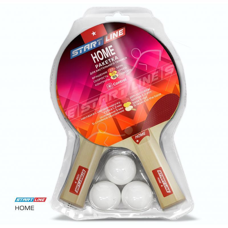 Набор для настольного тенниса START LINE Home 1 звезда (2 ракетки, 3 мяча, сетка с креплением)
