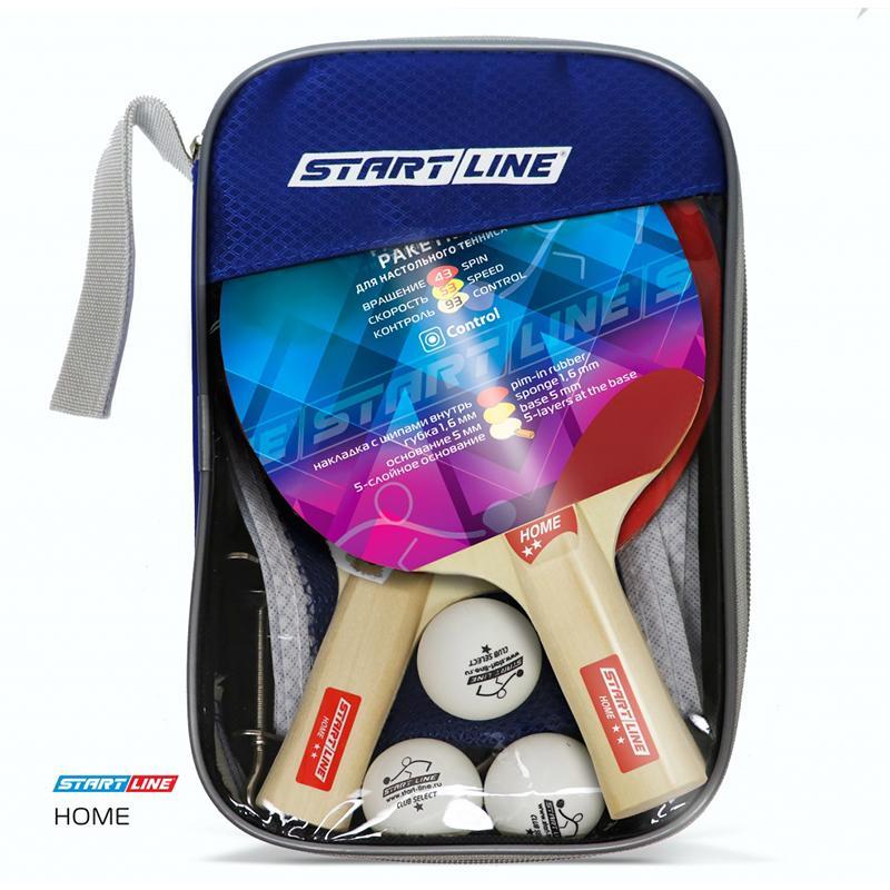 Набор для настольного тенниса START LINE Home 2 звезды (2 ракетки, 3 мяча, сетка с креплением)