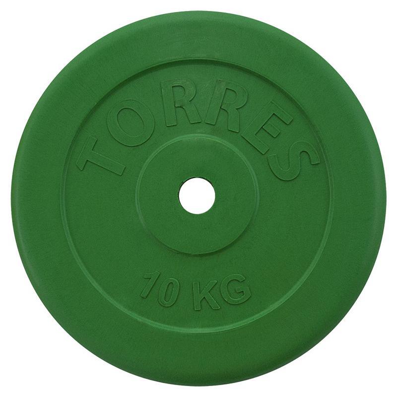Диск обрезиненный цветной TORRES 10 кг диаметр 25 мм