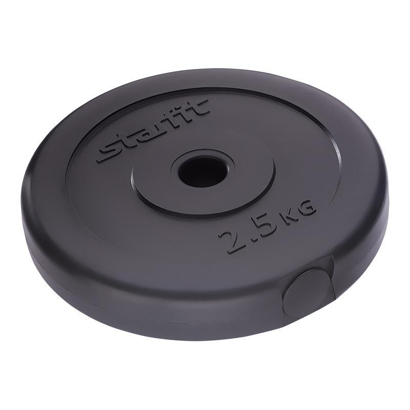 Диск черный пластиковый STARFIT BB-203 2,5 кг, диаметр 26 мм