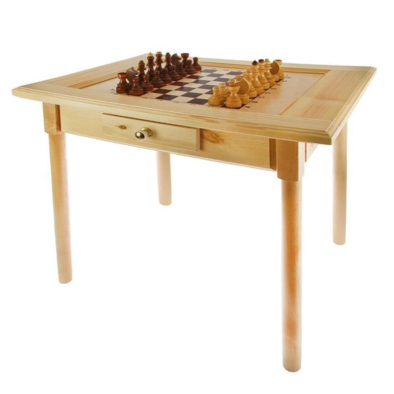Стол шахматный с ящиком АТЛАНТ 800 х 600 х 720 мм с фигурами в комплекте