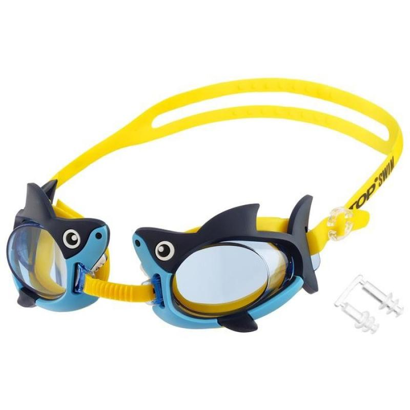 Очки для плавания детские ONLITOP Акуленок арт. 4736483,  беруши в комплекте, цвет сине-желтый