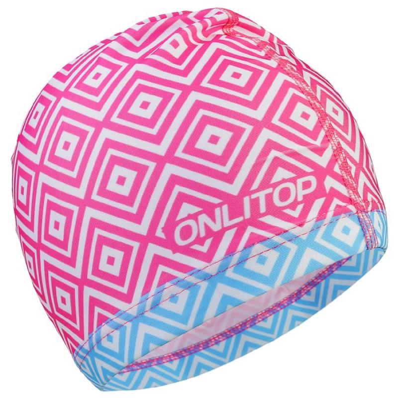 Шапочка для плавания женская ONLITOP арт. 3589389, текстиль , цвет розовый, узор