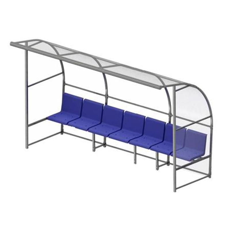 Скамейка для запасных игроков SPORTWERK с навесом на 7 посадочных мест (354 х 215 х 146 см)