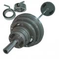 Штанга с металлическими крашеными дисками  в наборе, диаметр 50мм, гриф 2200мм, общий вес 140 кг
