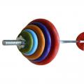 Штанга с цветными обрезиненными дисками в наборе, общий вес 70 кг + 2 грифа для гантелей