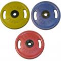 Диск обрезиненный цветной олимпийский MB Barbell Евро-классик с ручками вес 25 кг диаметр 51 мм