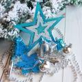 Набор украшений SL пластик 18x17,5x4,5 см (набор 27 шт) ассорти бело голубой